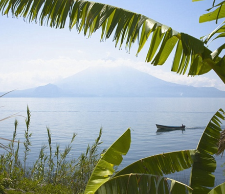 Mayan in Canoe, Lake Atitlan