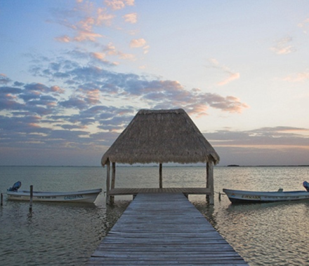 Sunset in Dock in Sian Kaan, Mexico